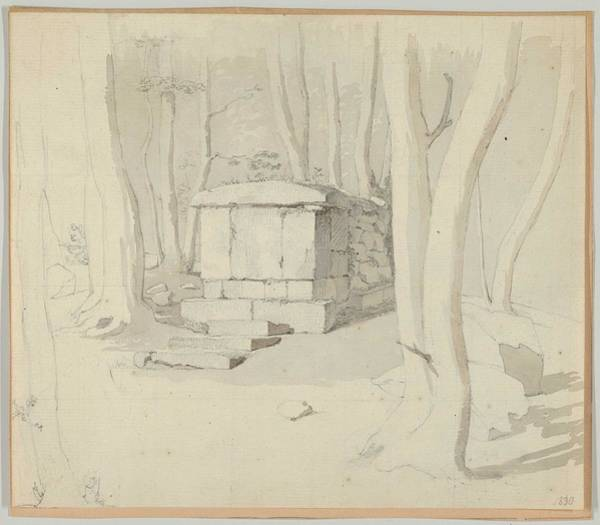 Wall Art - Painting - Christen Schiellerup Kobke - A Stone Tomb In A Forest by Celestial Images