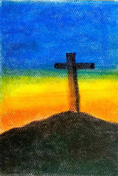 Wall Art - Pastel - Christian Cross 1 by Asha Sudhaker Shenoy