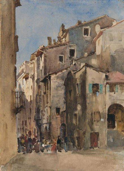 Wall Art - Painting - Christian Wilberg , Street In Verona by Celestial Images