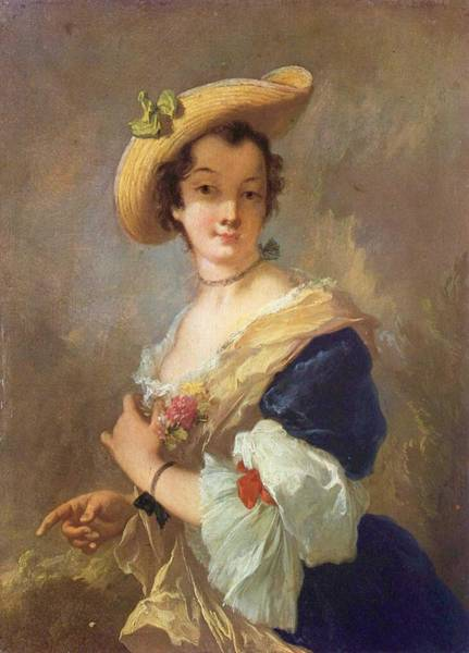 Wall Art - Painting - Christian Wilhelm Ernst Dietrich, Portrait Of A Woman With A Straw Hat by Celestial Images