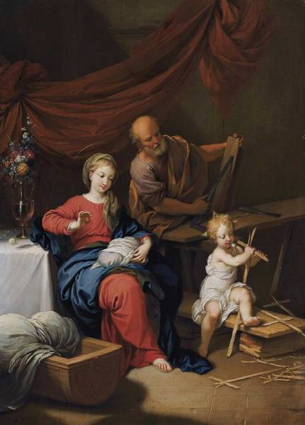 Wall Art - Painting - Christian Wilhelm Ernst Dietrich - The Holy Family by Celestial Images