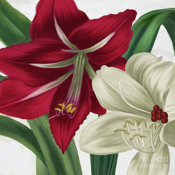 Wall Art - Painting - Christmas Amaryllis II by Mindy Sommers