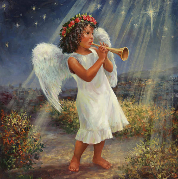 Trumpeter Painting - Christmas Angel by Laurie Snow Hein