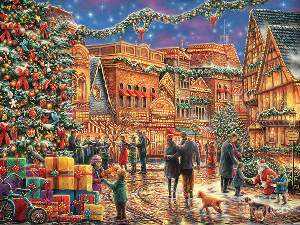 Presents Painting - Christmas At Town Square by Chuck Pinson