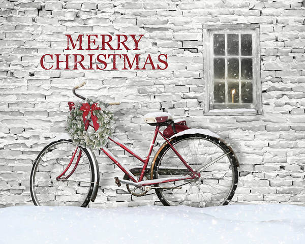 Wall Art - Mixed Media - Christmas Bicycle by Lori Deiter