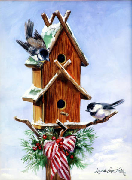 Birdhouse Painting - Christmas Birdhouse by Laurie Snow Hein