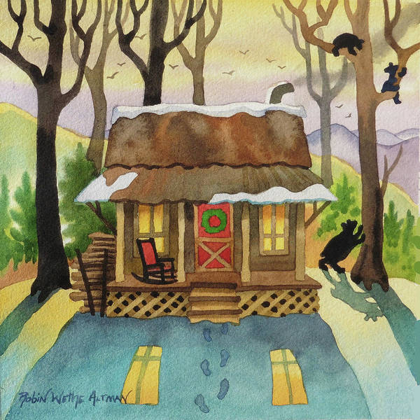 Cabin In The Woods Wall Art - Digital Art - Christmas Cabin With Bears by Robin Wethe Altman