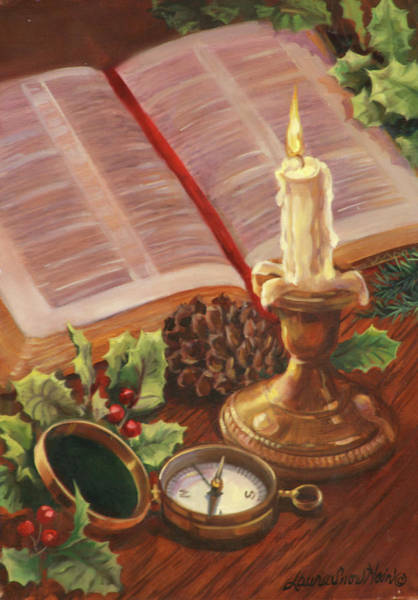 Pine Cones Painting - Christmas Candle by Laurie Snow Hein