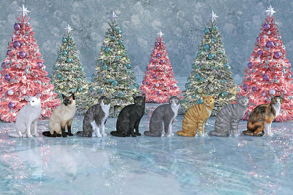 Wall Art - Digital Art - Christmas Cats by Betsy Knapp