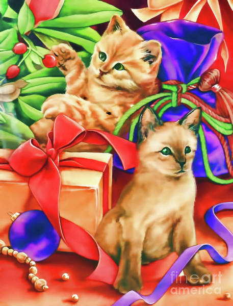 Digital Art - Christmas Cats by D Hackett