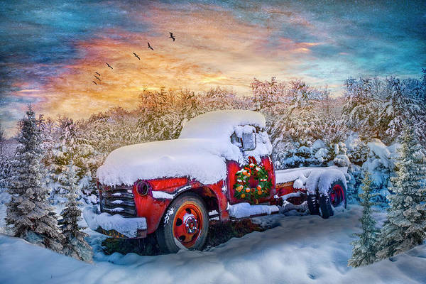Wall Art - Photograph - Christmas Chevy Pickup Truck In The Snow Hdr by Debra and Dave Vanderlaan