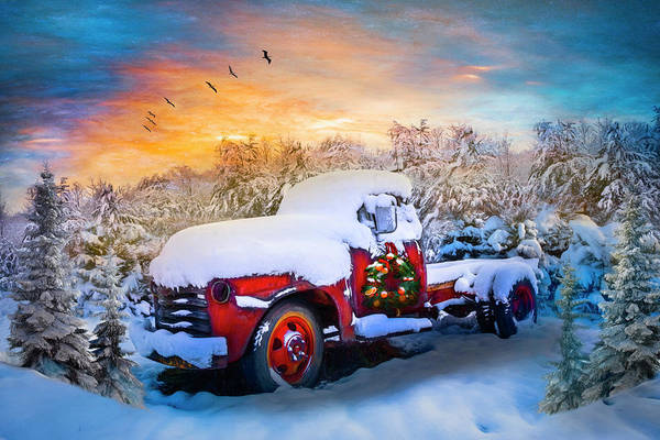 Wall Art - Photograph - Christmas Chevy Pickup Truck In The Snow Painting by Debra and Dave Vanderlaan