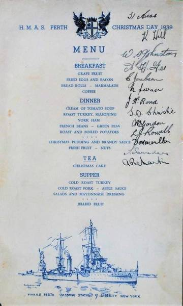 Wall Art - Painting - Christmas Day Menu On Board H.m.a.s. Perth   1939 by Celestial Images
