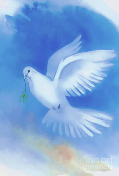 Digital Art - Christmas Dove by D Hackett