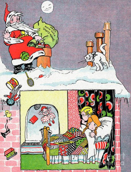 Drawing - Christmas Eve Father Christmas With His Sack Of Presents by English School