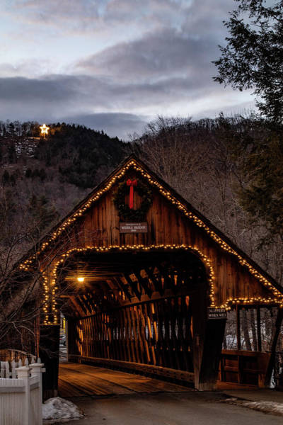Photograph - Christmas Evening Over The Woodstock Covered Bridge by Jeff Folger