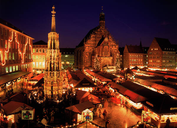 Night Photograph - Christmas Fair At Night, Nurnberg by David Ball