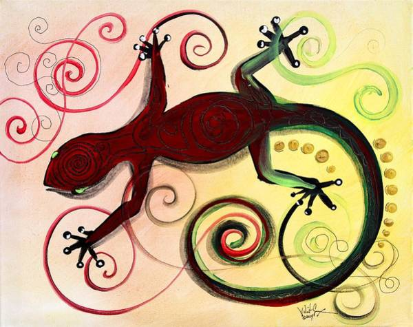Painting - Christmas Gecko, With Gold Poop by J Vincent Scarpace