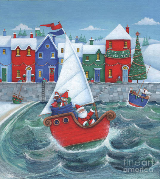 Wall Art - Digital Art - Christmas Harbour Scene by MGL Meiklejohn Graphics Licensing
