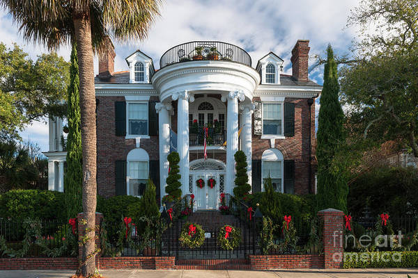 Photograph - Christmas In Charleston - Battery Home by Dale Powell