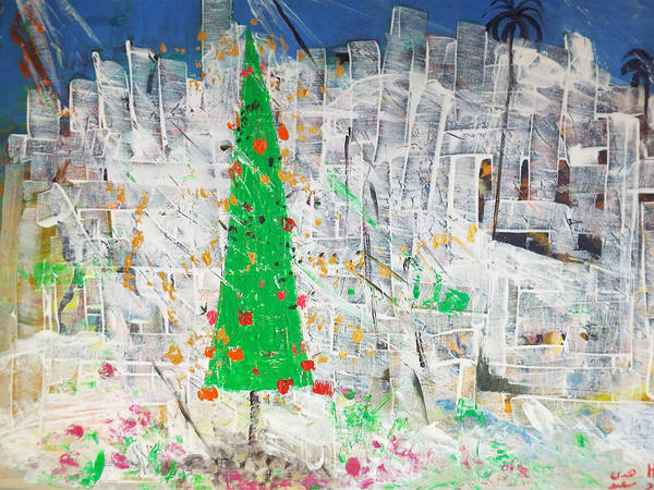 Painting - Christmas In Town by Hoda Said Ibrahim