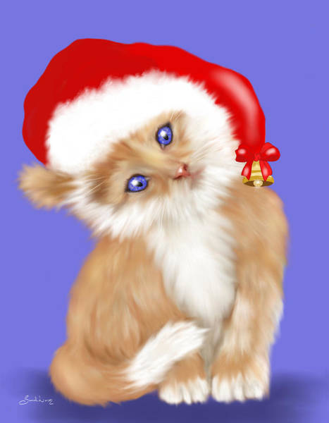 Painting - Christmas Kitten by Sannel Larson