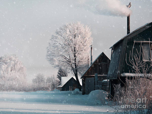 Christmas Landscape In Winter Village Art Print