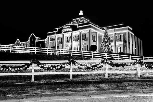 Photograph - Christmas Lights At Dolly Parton's Dixie Stampede - Branson Missouri - Black And White by Gregory Ballos