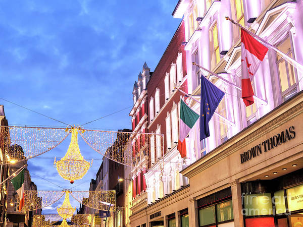 Wall Art - Photograph - Christmas Lights On Grafton Street Dublin by John Rizzuto