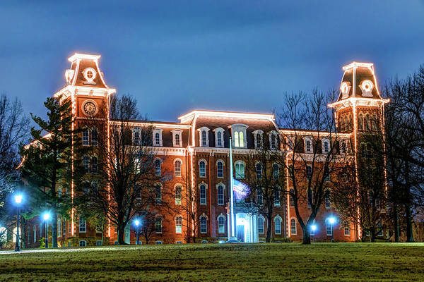 Photograph - Christmas Lights On Old Main - University Of Arkansas by Gregory Ballos
