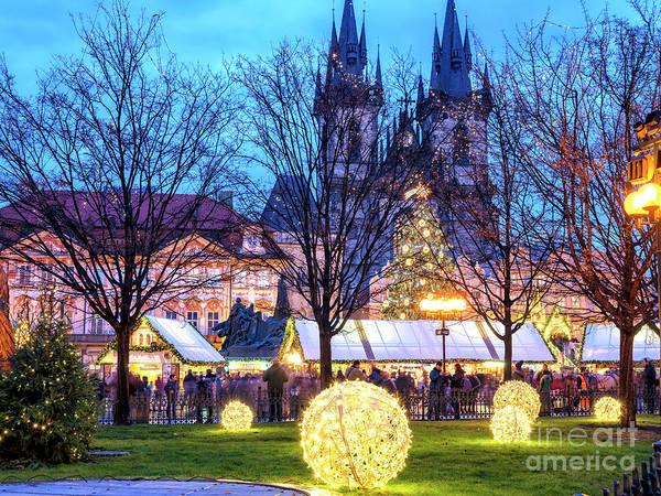 Photograph - Christmas Lights Prague by John Rizzuto