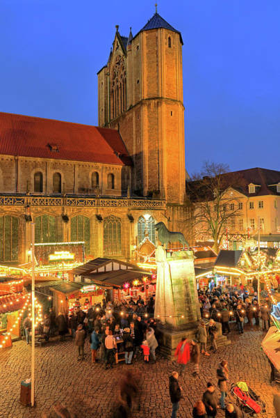 Wall Art - Photograph - Christmas Market On Burgplatz With Cathedral And Brunswick Lion Brunswick Lower Saxony Germany by imageBROKER - Guenter Graefenhain