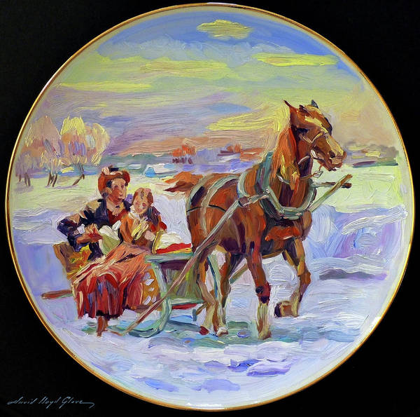 Painting - Christmas Morning Sleigh Ride by David Lloyd Glover