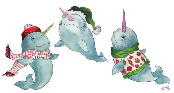 Wall Art - Painting - Christmas Narwhals by Elizabeth Medley