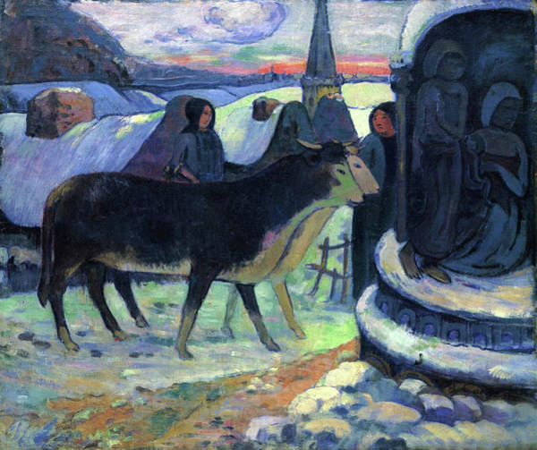 Wall Art - Painting - Christmas Night , The Blessing Of The Oxen -  by Paul Gauguin