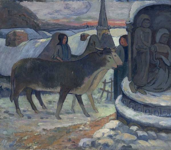 Wall Art - Painting - Christmas Night  The Blessing Of The Oxen  By Paul Gauguin by Paul Gauguin