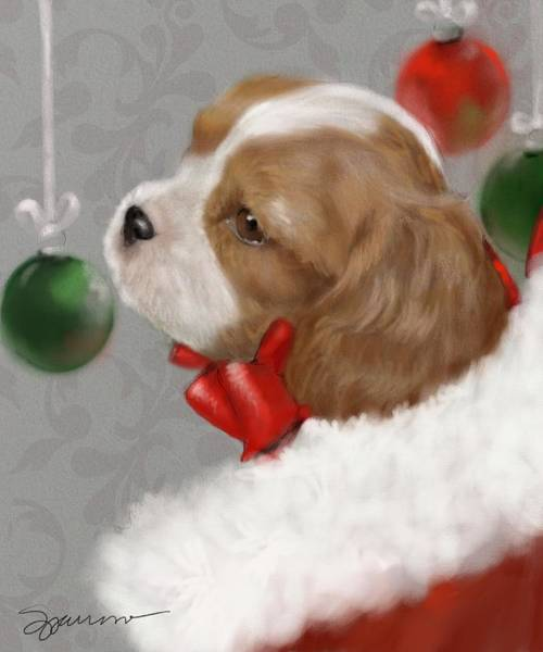 Wall Art - Painting - Christmas Puppy by Mary Sparrow