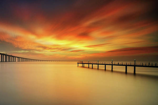 Vasco Da Gama Bridge Wall Art - Photograph - Christmas Sky by Cresende
