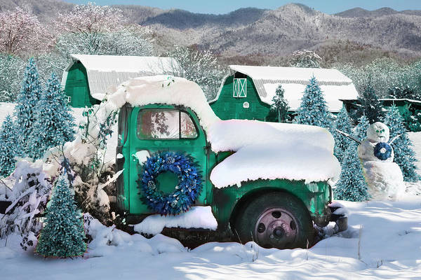 Photograph - Christmas Snowfall In The Mountains In Turquoise Tones by Debra and Dave Vanderlaan