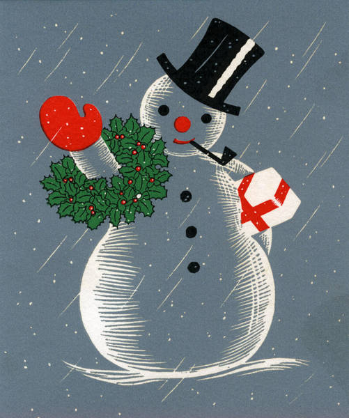 Archival Digital Art - Christmas Snowman by Graphicaartis