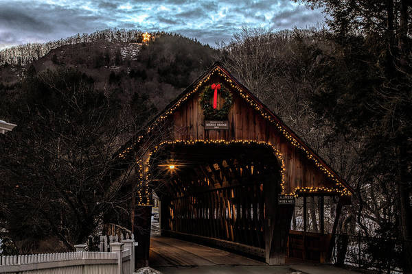 Photograph - Christmas Star Above Woodstock Covered Bridge by Jeff Folger