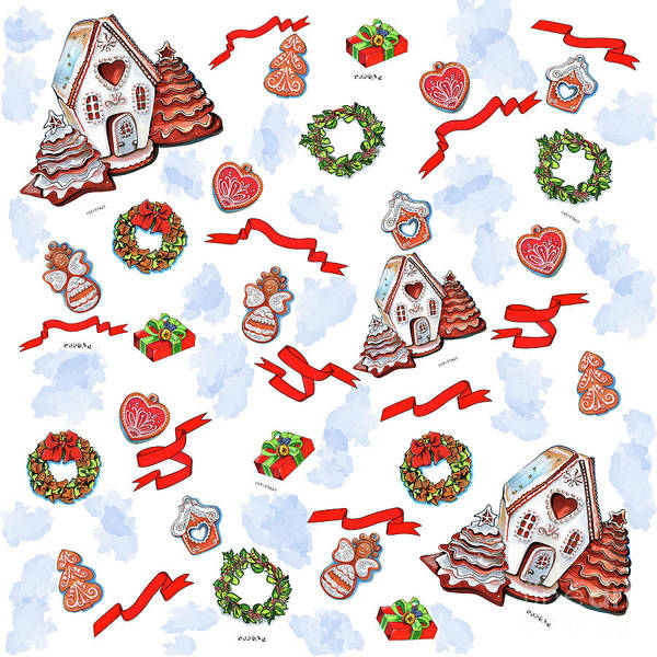 Drawing - Christmas Time Pattern by Ariadna De Raadt