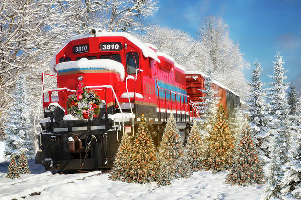 Photograph - Christmas Train In The Snow by Debra and Dave Vanderlaan