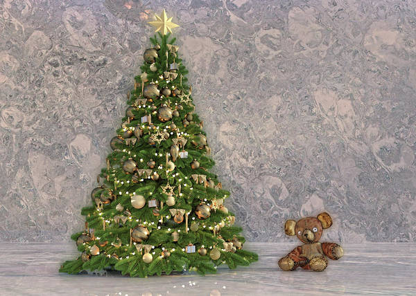 Wall Art - Digital Art - Christmas Tree And Friendly Bear by Betsy Knapp