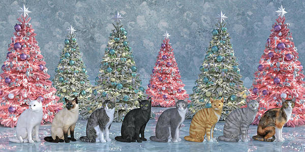 Wall Art - Digital Art - Christmas Tree Cats by Betsy Knapp