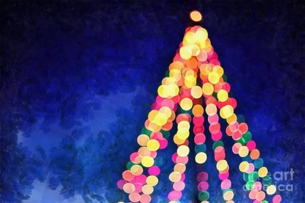 Wall Art - Digital Art - Christmas Tree Colorful Christmas Card by Edward Fielding