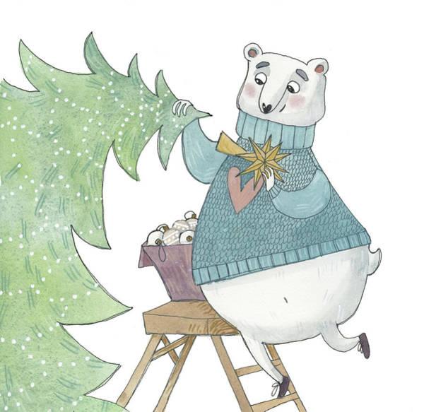 Trimming Painting - Christmas Tree by Ema Malyauka