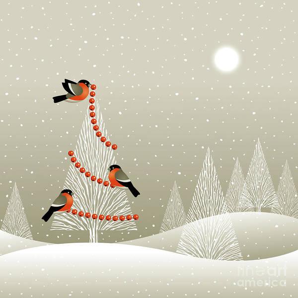 Winter Time Digital Art - Christmas Tree In Winter Forest by Oleg Iatsun