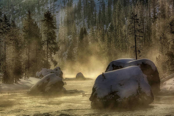 Wall Art - Photograph - Christmas Tree Rock - Firehole River, Yellowstone by N P S Neal Herbert