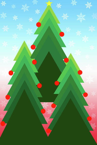 Christmas Season Wall Art - Digital Art - Christmas Trees Trio by Steve Ohlsen